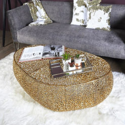 Coralie Gold Large Oval Metal Coffee Table With A Coral Pattern