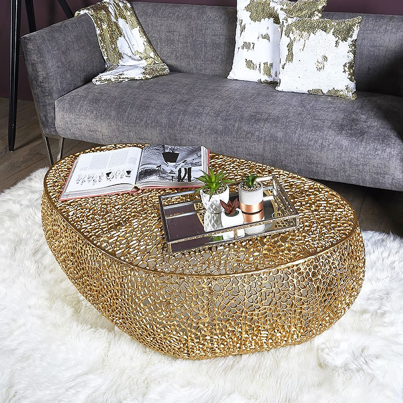 Coralie Gold Large Oval Metal Coffee Table With A Coral