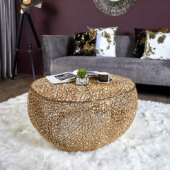 Coralie Gold Medium Round Metal Coffee Table With A Coral Pattern