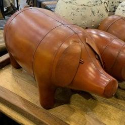 Genuine Handmade Leather Pig Character Animal Stool Footstool Seat