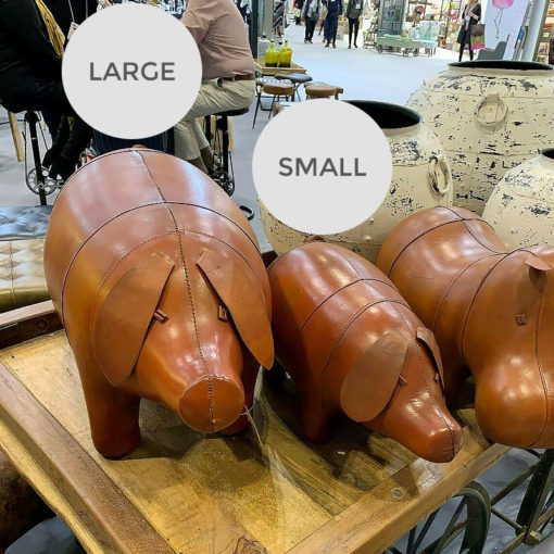 Genuine Handmade Leather Pig Character Animal Stool Footstool Seat