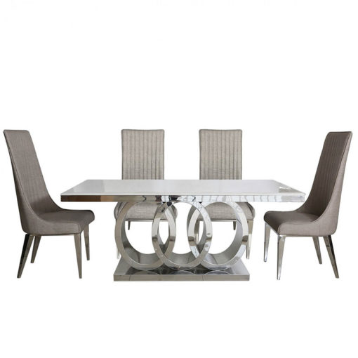 Josephine Chrome And Marble Style Dining Table And Six Taupe Chairs