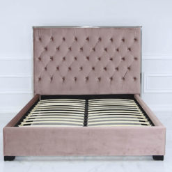 Rose Pink Mirrored Double Size Bed Frame With Velvet Style Upholstery