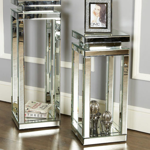 Classic Mirror Mirrored Pillar Pedestal Display End Side Lamp Table