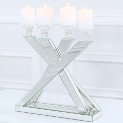 Classic Mirror Mirrored Statement 4 Arm Candelabra Candle Holder