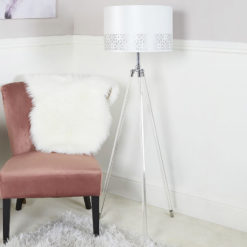 Hollywood Tripod Floor Lamp With Acrylic Base And A White Velvet Shade