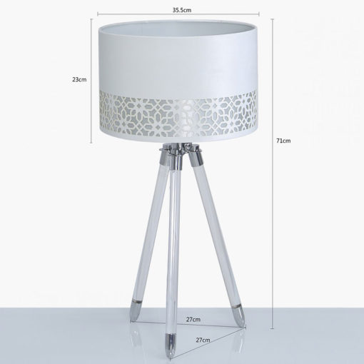 Hollywood Tripod Table Lamp With Acrylic Base And A White Velvet Shade