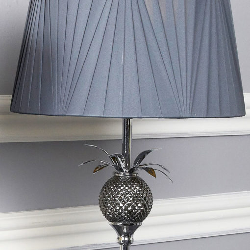 Polished Metal Pineapple Table Lamp With A Grey Drum Shade