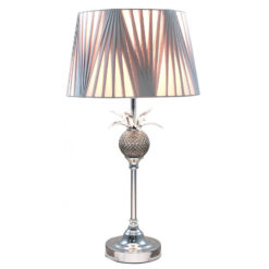 Polished Metal Pineapple Table Lamp With A Light Grey Drum Shade