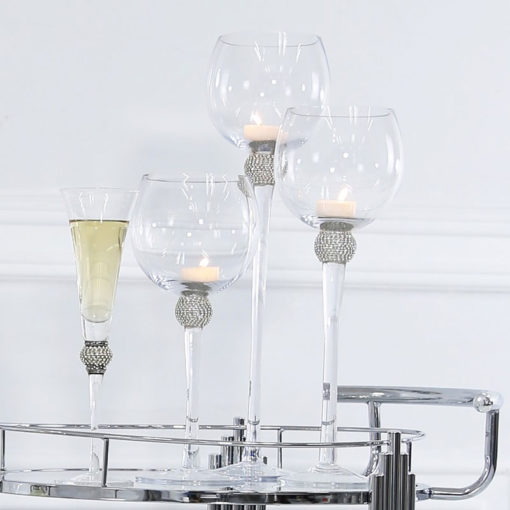 Set Of 3 Wine Glass Style Candle Holders With A Diamante Ball On Stems