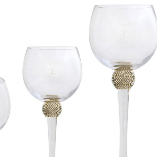 Set Of 3 Wine Glass Style Candle Holders With A Gold Diamante Ball