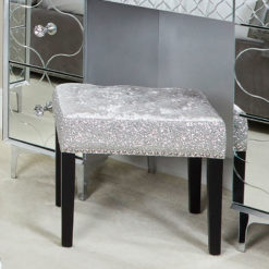 Silver Crushed Velvet Dressing Stool Chair With Sparkly Glitter Sides