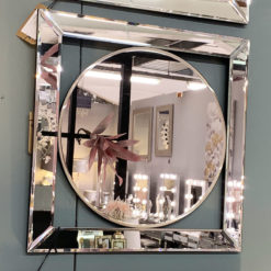 Small Circle Silver Mirror Wall Art 40cm