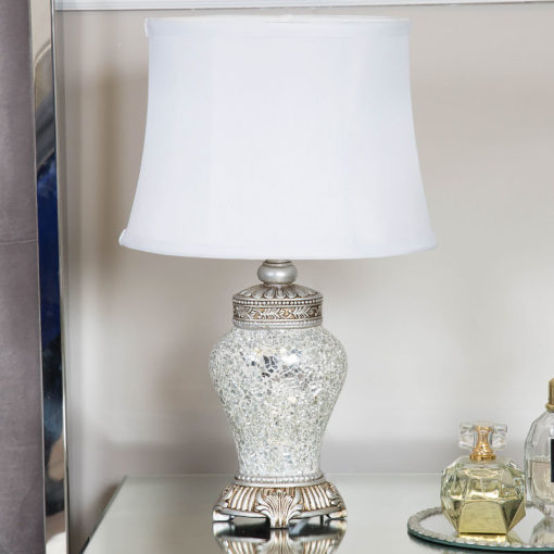 Antique Silver Sparkle Mosaic Medium Regency Lamp With A White Shade