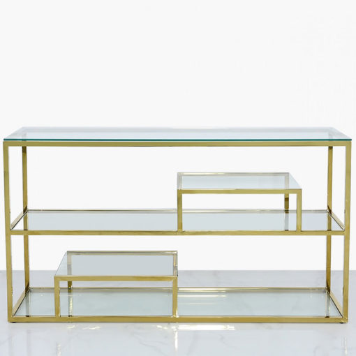 Bailey Gold Steel 3 Tier Console Table With Glass Shelves