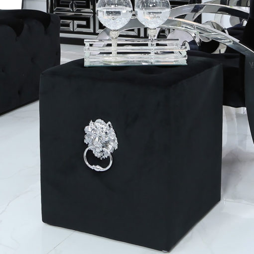 Black Square Velvet Stool With Buttons And Lion Head Side Handle Rings