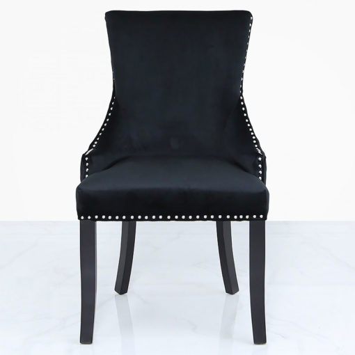 Black Velvet Dining Chair With Studded Trims And Ring Knocker Back
