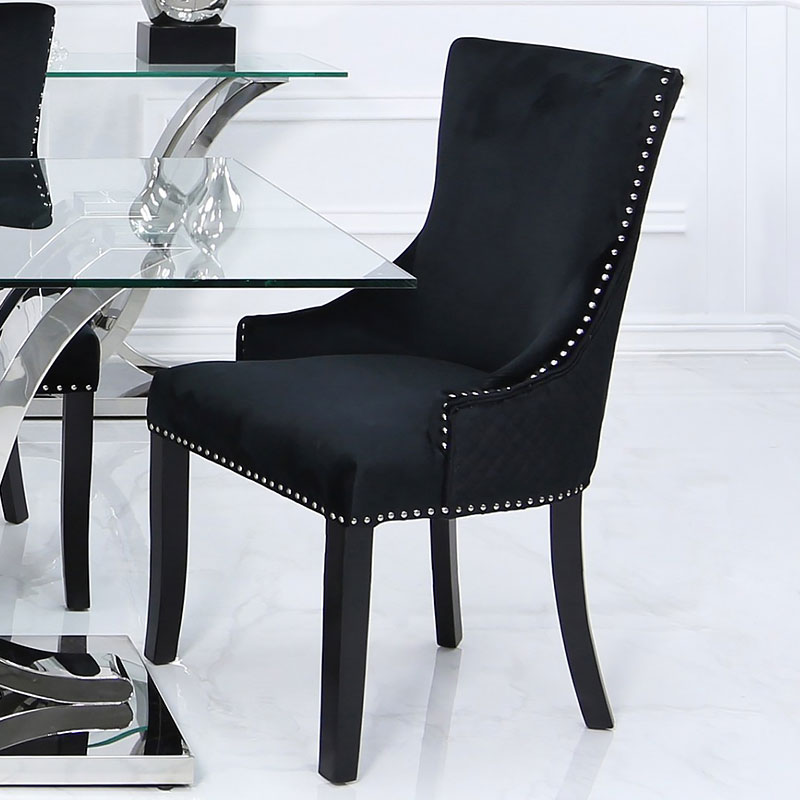 Black Velvet Dining Chair With Studded Trims And Ring Knocker Back Picture Perfect Home