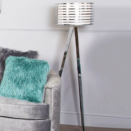 Chrome Hollywood Floor Lamp With White Metal Outer Drum Shade