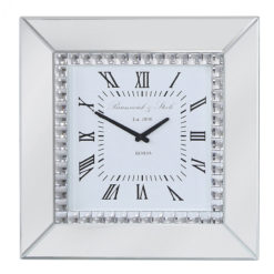 Classic Mirror Mirrored Wall Clock With A Sparkling Gem Border