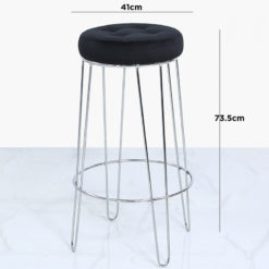 Colton Bar Stool With Chrome Steel Base And A Padded Black Velvet Seat
