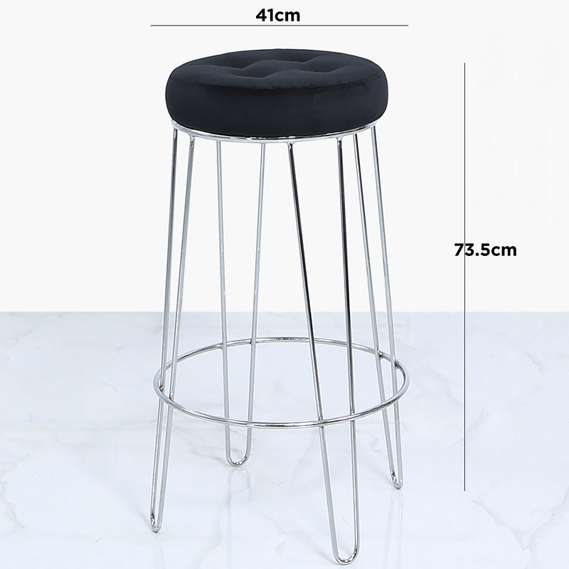 Magnificent Set Of 2 Colton Chrome Bar Stools With Padded Black Velvet Seats Picture Perfect Home Pdpeps Interior Chair Design Pdpepsorg