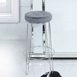 Set of 2 Colton Chrome Bar Stools With Padded Grey Velvet Seats