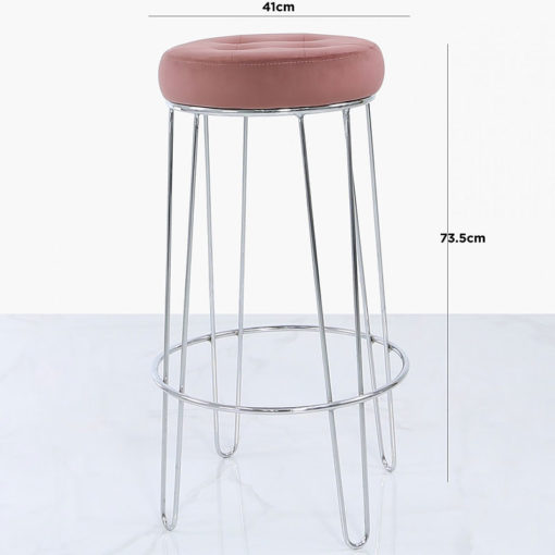 Set of 2 Colton Chrome Bar Stools With Padded Pink Velvet Seats