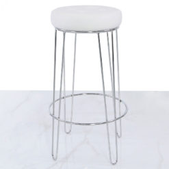Set of 2 Colton Chrome Bar Stools With White Faux Leather Seats