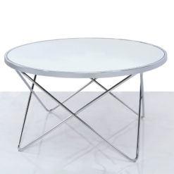 Colton Contemporary Chrome Coffee Lounge Table With Mirrored Table Top