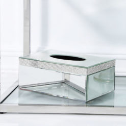 Diamond Glitz Mirrored Tissue Box Holder With A Diamante Strip Border
