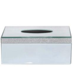 Diamond Glitz Mirrored Tissue Box Holder With A Diamante Strip Border
