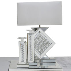 Floating Crystal Diamond Shape Mirrored Table Lamp