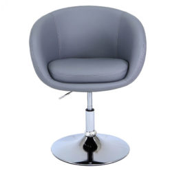 Grey Deeply Padded Chrome And Faux Leather Swivel Chair