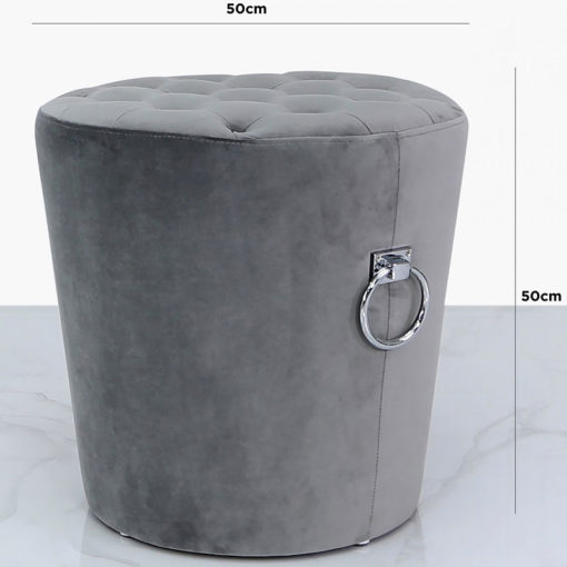 Grey Round Velvet Stool With Tufted Buttons And Silver Side Handles