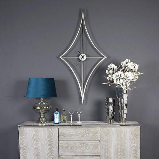 Large 155cm Silver Diamond Shape Wall Clock