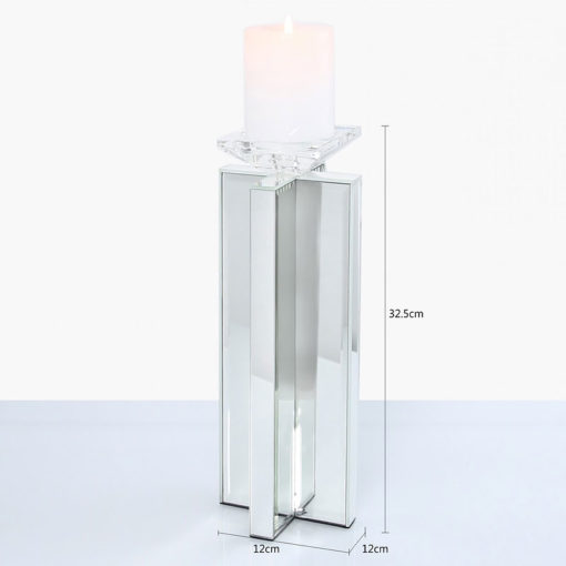 Large 32cm X Shape Mirrored Pillar Tealight Candle Holder