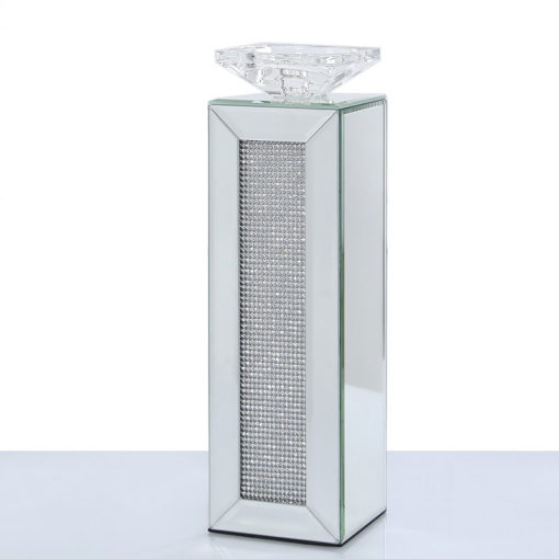 Large 33cm Diamond Glitz Mirrored Pillar Tealight Candle Holder