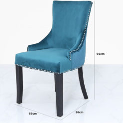Marine Green Velvet Dining Chair With Studded Trims And Ring Knocker