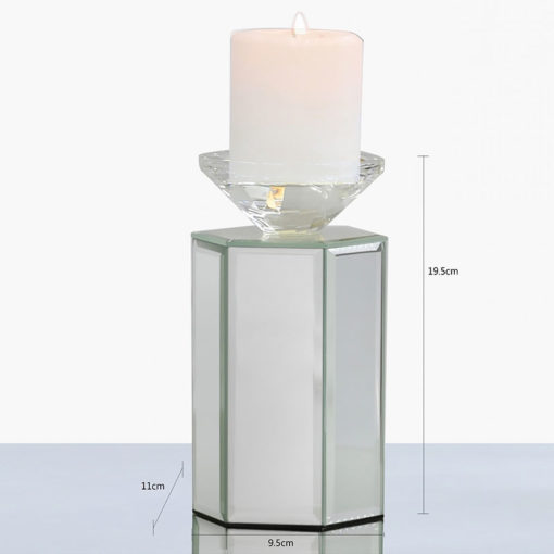 Medium 19cm Hexagon Mirrored Tealight Candle Holder