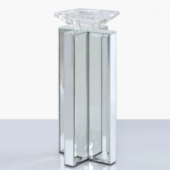 Medium 27cm X Shape Mirrored Pillar Tealight Candle Holder
