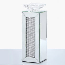 Medium 29cm Diamond Glitz Mirrored Pillar Tealight Candle Holder