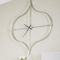 Moresque Silver Moroccan 138cm Wall Clock With An Ogee Design Frame