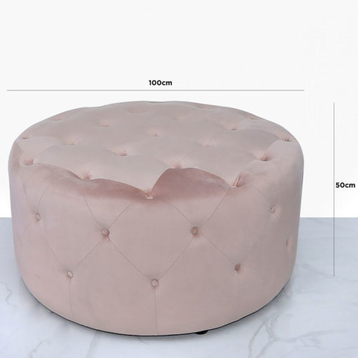 Pink Round Stool With Velvet Upholstery And Tufted Buttons