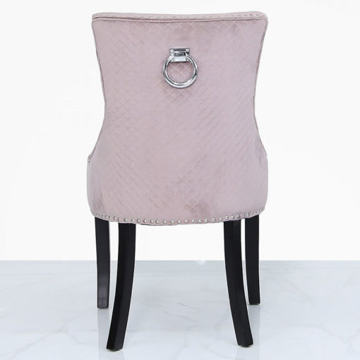 Pink Velvet Dining Chair With Studded Trims And Ring Knocker Back