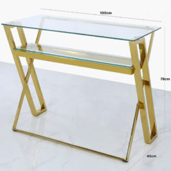 Plaza Gold Steel Office Desk With A Clear Tempered Glass Table Top