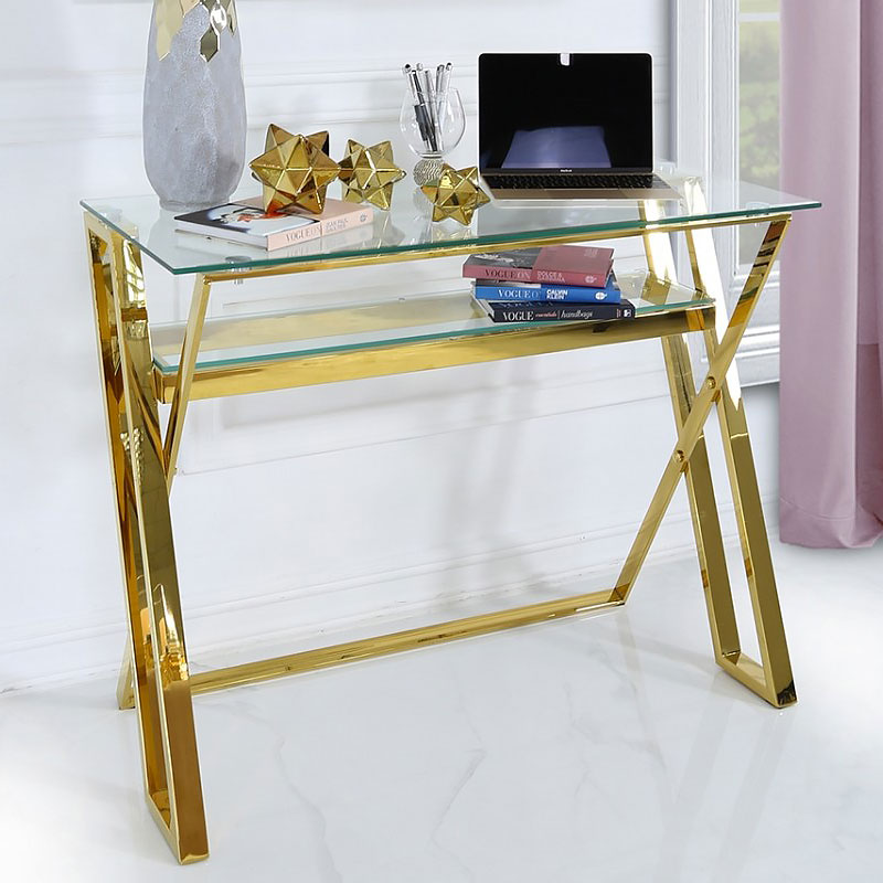 huge discount e233d 2d8b7 Plaza Gold Steel Office Desk With A Clear Tempered Glass Table Top
