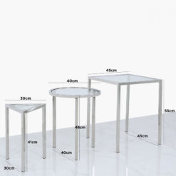 Set Of 3 Stainless Steel And Glass End Tables In 3 Geometrical Shapes