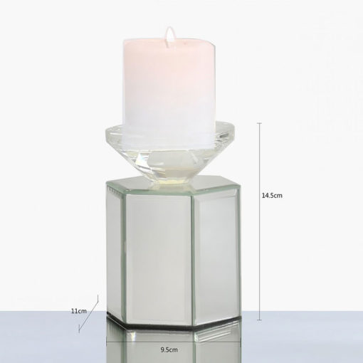 Small 14cm Hexagon Mirrored Tealight Candle Holder