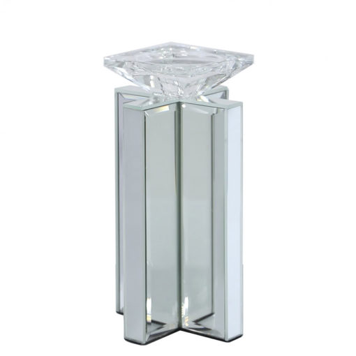 Small 22cm X Shape Mirrored Pillar Tealight Candle Holder